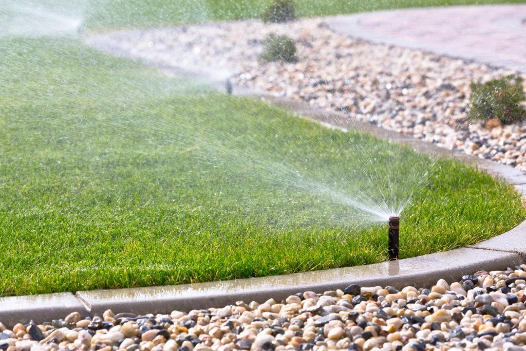Irrigation system spraying grass