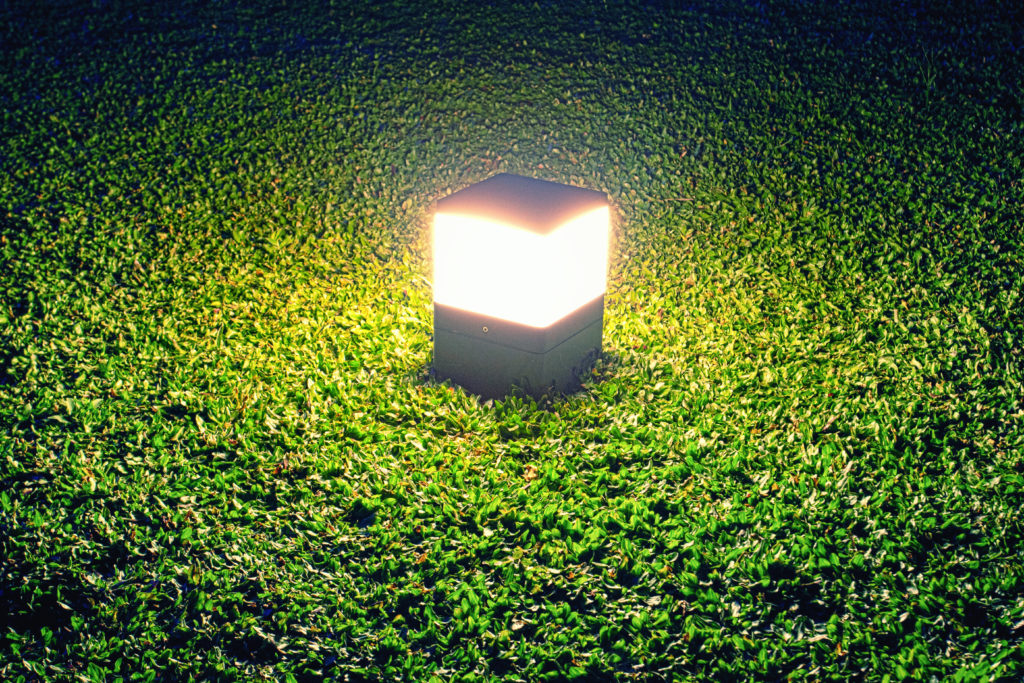 Square light in the garden